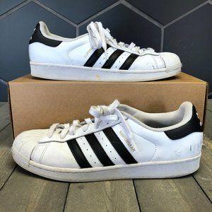 Used Adidas Superstar White Black Size 10.5